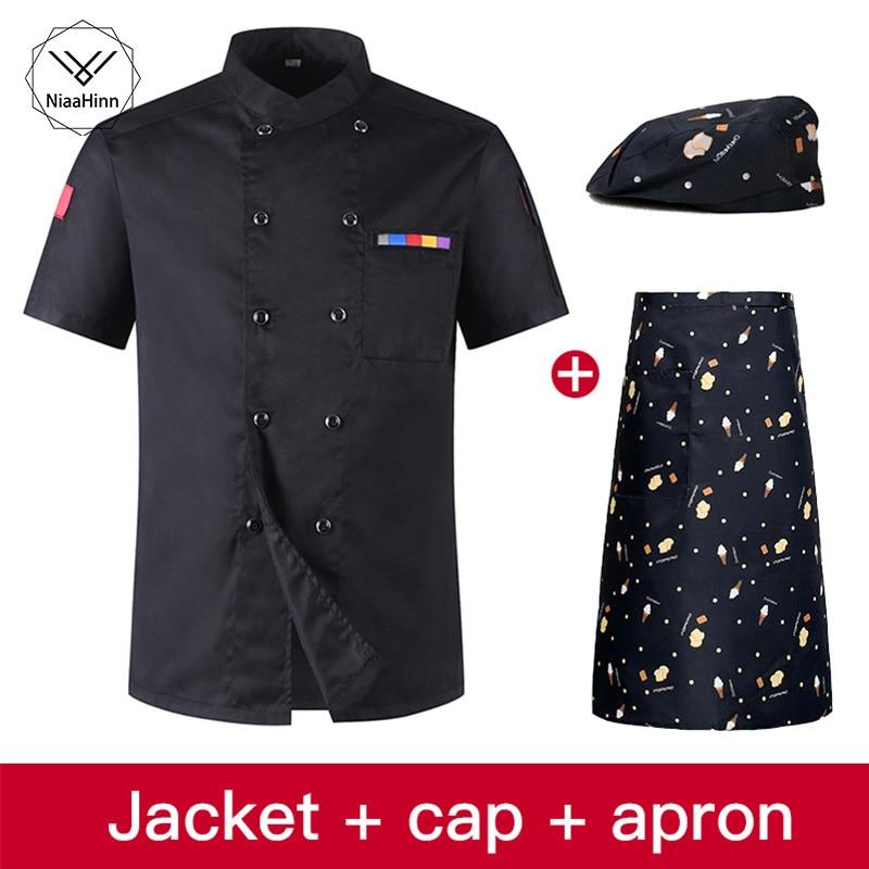 Short-sleeved Overalls Stitching Black Collar Kitchen Chef Uniform Hotel Uniform Chef Beauty Apron Sushi Uniform Chef Clothes