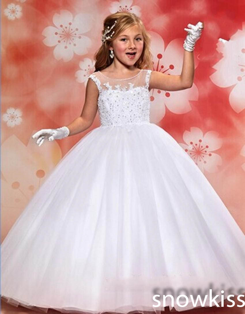 White Flower Girl First Communion Tulle Long Dress Peplum Gown Wedding Party New