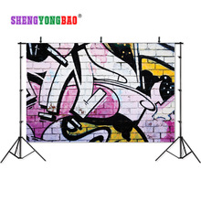 SHENGYONGBAO Art Cloth Photography Backdrops Prop Brick wall Graffiti theme  Background 18930-06