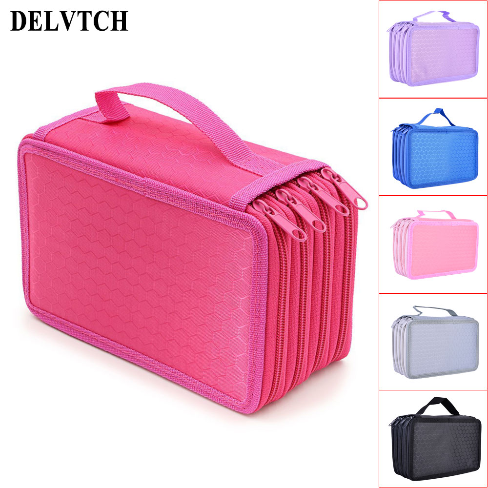 DELVTCH Large Capacity 4 Layer 72 Holes 6colors Available Student Pen Bag Pencil Case Storage Zipper Case Holder Pen Box big capacity high quality canvas shark double layers pen pencil holder makeup case bag for school student with combination coded lock