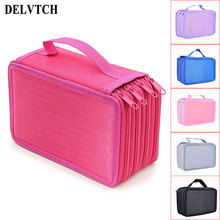 DELVTCH Large Capacity 4 Layer 72 Holes 6colors Available Student Pen Bag Pencil Case Storage Zipper Case Holder Pen Box все цены