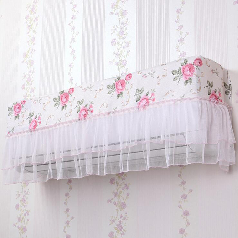 1PC Convenient Pastoral Style Flower Lace Cloth Dust Proof Cover Hang Air  Conditioner Cover Cozy Home