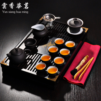 Kung fu teaset Yixing purple sand tea pot Ceramic tea art Solid wood tea tray