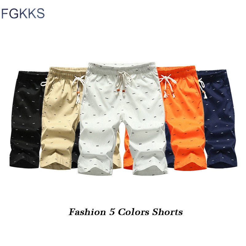 FGKKS Fashion Brand Men Shorts 2019 Summer Male Breathable Fish Bones Printing Shorts Male Casual Bermuda Short