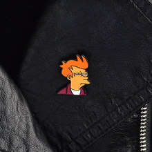 Cartoon pins and brooches Futurama Philip J Fry Pin Brooches Leather Jackets Collar Bag Backpack Accessories Gift for kids(China)