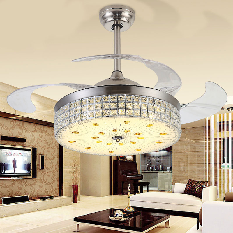 LED fan lamp invisible ceiling fan modern simple living room lamp warm color change bedroom lamp remote control restaurant light children lamp creative led ceiling lights remote control dimmer color cartoon absorb living room restaurant superior hotel et36