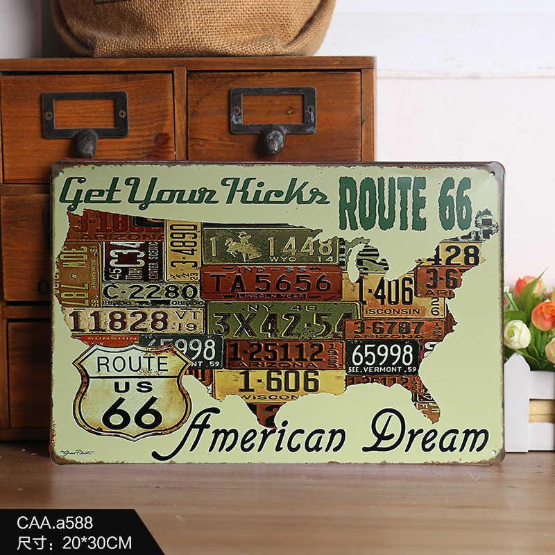 Country Car Plates Usa Route 66 Map Vintage Tin Sign Bar Pub Home Garage Wall Decor