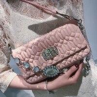 2019 модные роскошные Сумки Для женщин сумки дизайнер овчины Для женщин сумки на плечо Курьерские сумки бриллиантами Запчасти вечерние сумоч