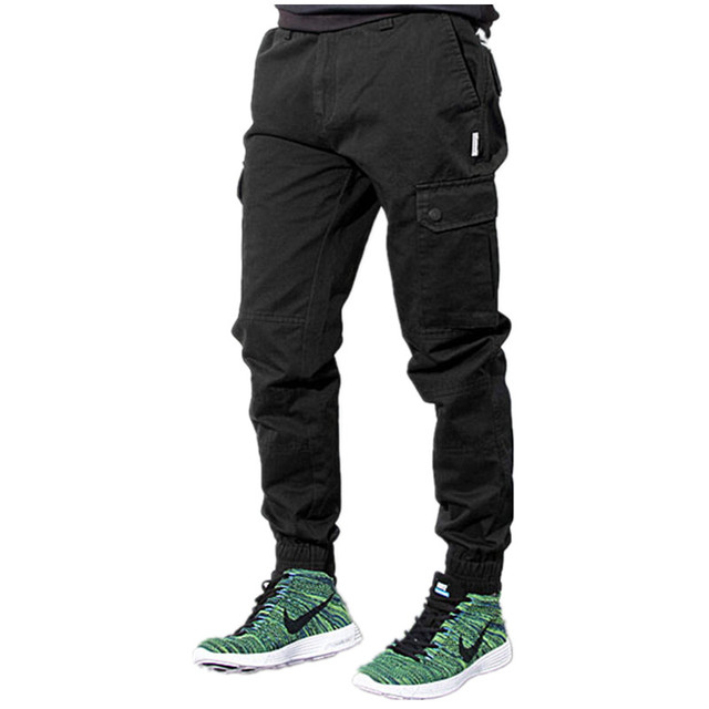 89aa3819b3d871 Hip Hop Mens Skinny Cargo Pants Black Khaki And Blue Joggers With Pockets  On Side For Men Chino Pant