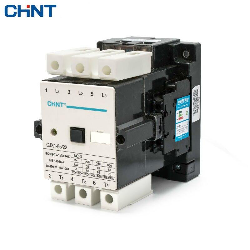 цена на CHINT AC Contactor CJX1-85/22 85A 380v 220v 110v 36v 24v Coil Din Rail