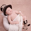 Handmade Cute Baby Infant Knitted Clothing Set cowboy Costume Crochet Photo Props 0-1 Month Newborn Photography Baby Hats Caps