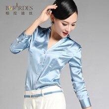 autumn slim fashion mulberry silk shirt female long-sleeve top