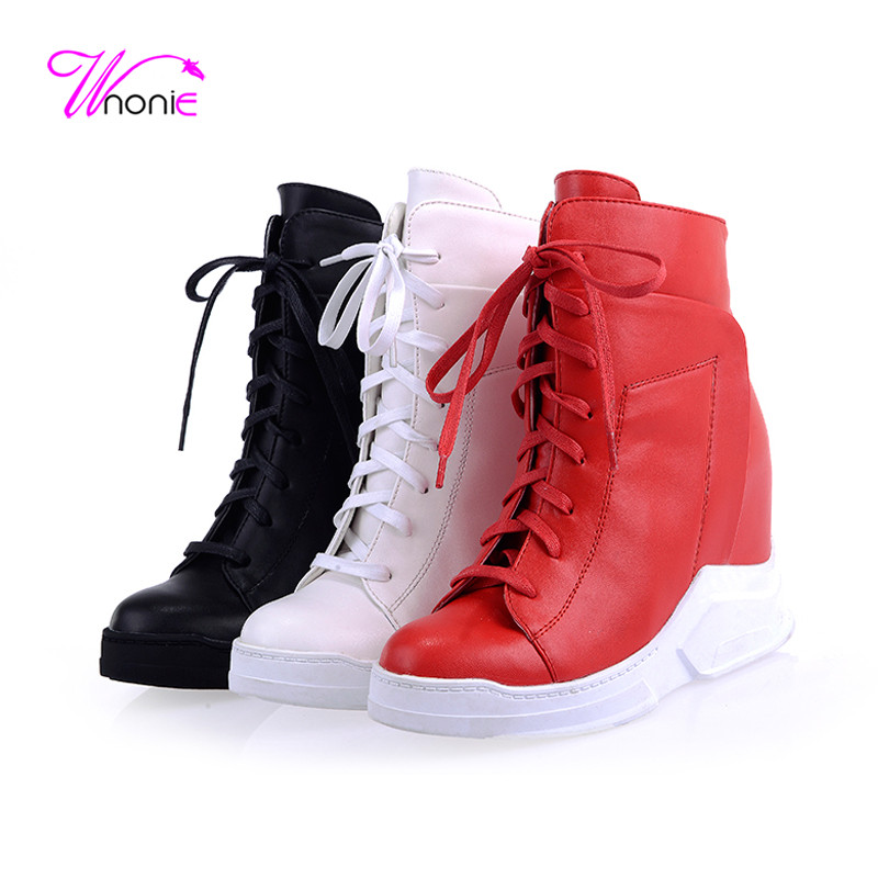 ФОТО 2017 Fashion Women Ankle Boots Martin Wedge Heel Height Increasing PU Leather Lace-up Korean Party Dress Short Winter Lady Shoes