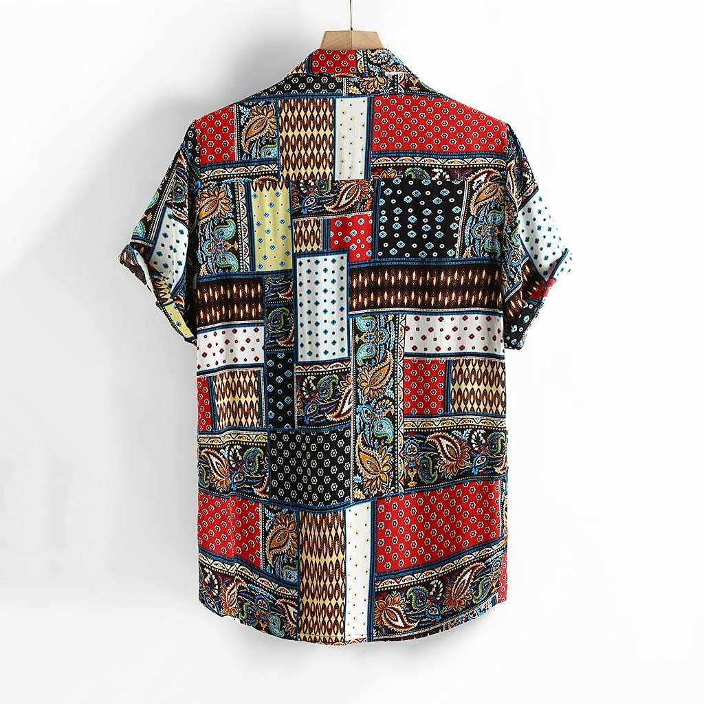 Стильная мужская рубашка Hauts pour hommes из чистого хлопка с разноцветным принтом, свободная рубашка с отложным воротником и коротким рукавом, Ropa de hombre camisa