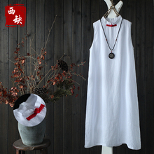 2017 new mori girl Vintage red buckle linen tank dress female spring sleeveless one-piece dress medium-long pullover