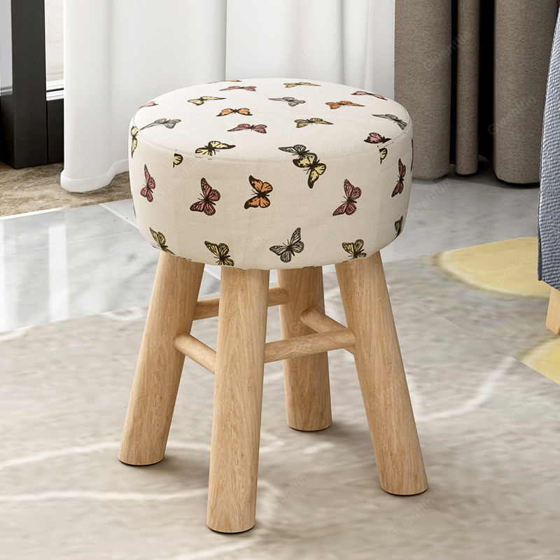 Nordic Fabric Wooden Stool Round Square Small Footstool ...