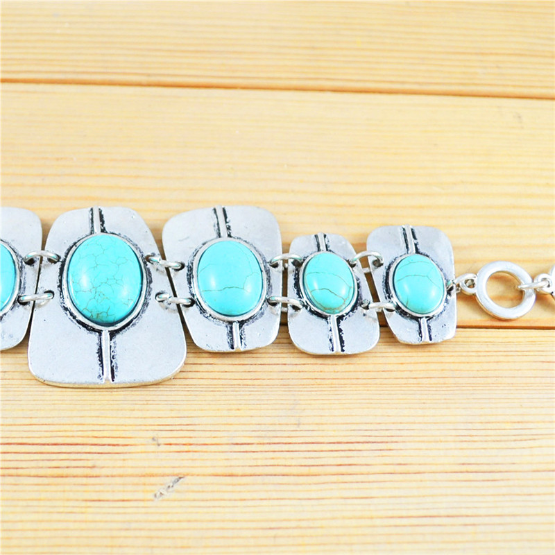 Oblong Blue Turquoises Necklace Bracelet Jewelry Sets For Women Heavy Personality Birthday Bridal Fashion Gift S059