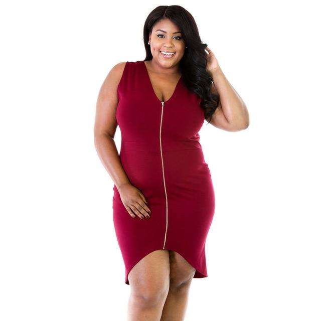 Doreenbow Plus Size Sexy Femme Midi Sheath Bodycon Dress Woman