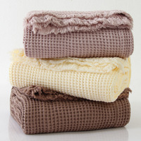 Throw Blankets Cotton Waffle Plaid Blanket Manta Air Conditioner Bed Sheets Summer Quilt on sofa Covers cobertor koc narzuta