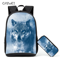 2PCS/Set Backpack Pencil Case For Primary Students Cool Animal Wolf School Bags For Teenagers Book Bag Casual Rucksack