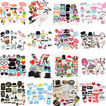 10 60Pcs DIY Photo Booth Props Funny Mask Glasses Mustache Lip On A Stick Birthday Bride