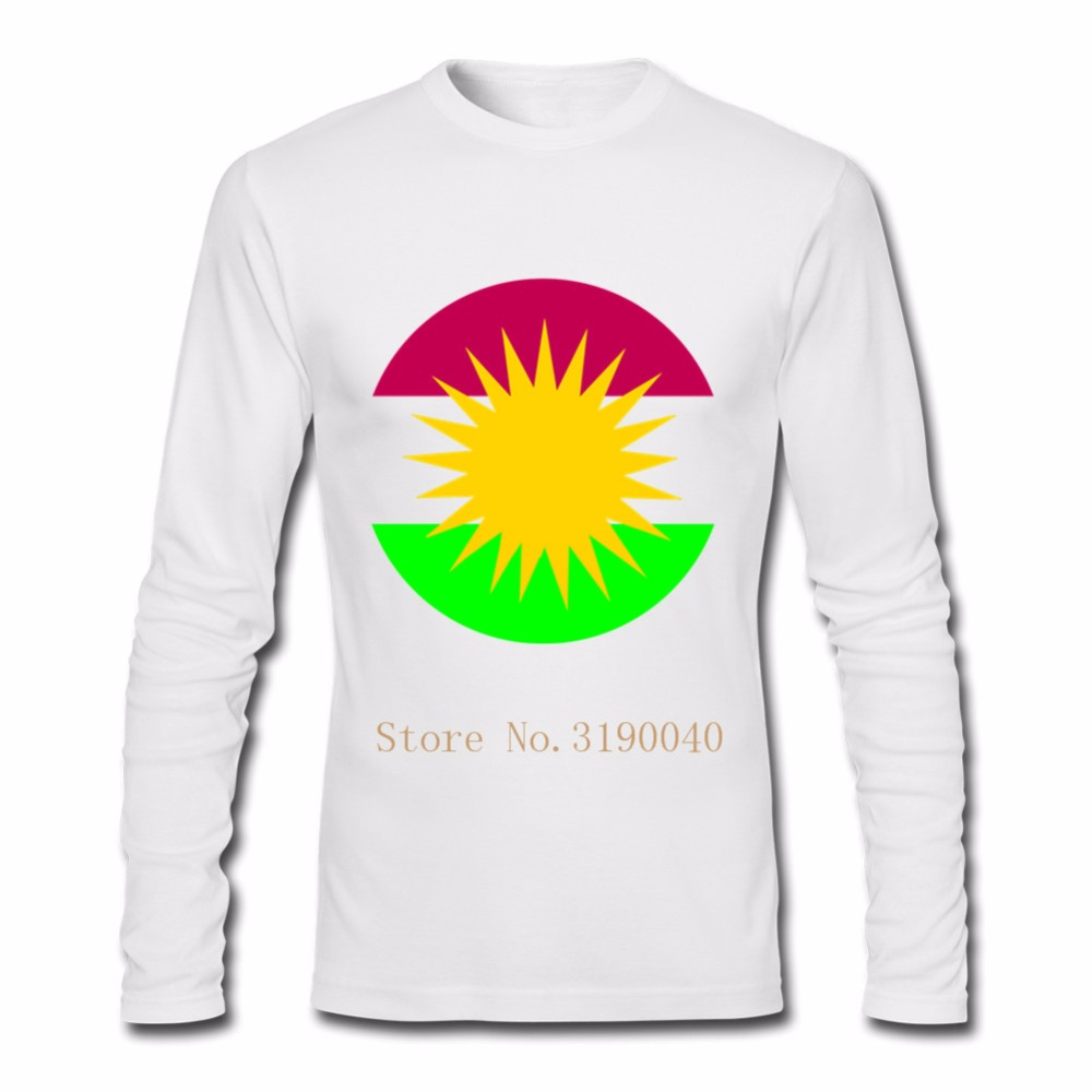7a68547d2a6 T Shirt Men Kurdistan flag Camisetas Hombre Swag t shirts Boy Unique Custom  Long Sleeve Valentine s Hombre Backing Family Tshirt-in T-Shirts from Men s  ...