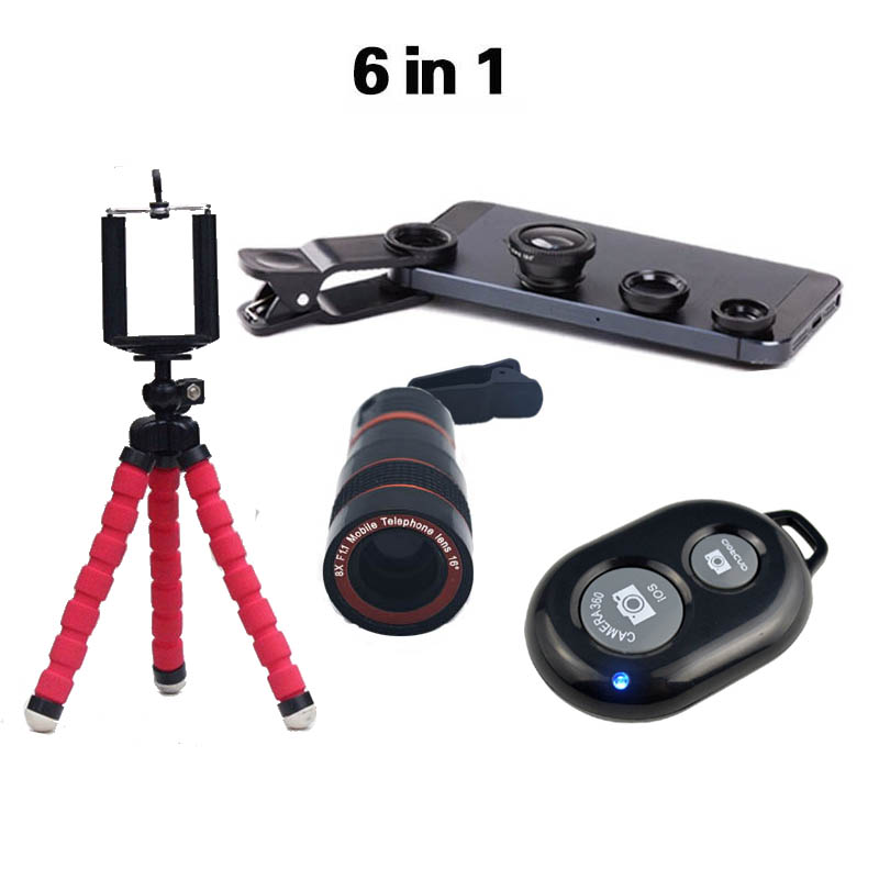 2016 Νέο 6in1 8x Zoom Telephoto Camera Lens Telescope Flexible Mini Tripod Phone 3in1 Lens with Bluetooth Shutter for smartphone