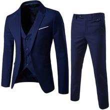 Oeak, мужские весенние классические пиджаки из 3 предметов, мужской деловой блейзер+ жилет+ брюки, костюмы, наборы, осень, мужской свадебный вечерний комплект