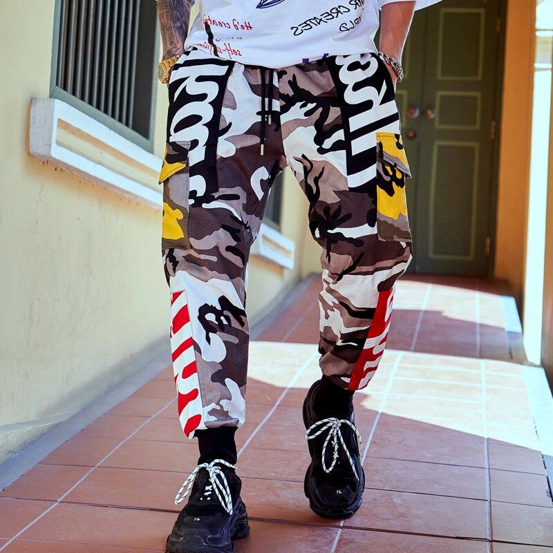 Hip Hip Splice sarouel Camouflage pantalon cargo pour homme Tactique Streetwear Armée décontracté Camo Pantalon Multi Poche 2019 survêtement Nouveau