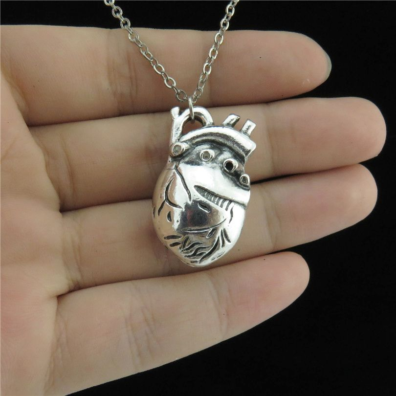 GLOWCAT Q8A37 Vintage silver Alloy Women Lovers Jewelry Human Heart Organ Pendant Short Collar Chunky Necklace 18