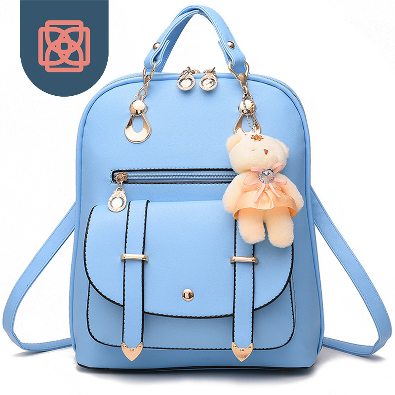Women's School Bag Korean PU Leather Backpack Travel Bag ...