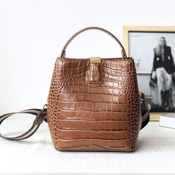 FoxTail & Lily Fashion Crocodile Pattern Bucket Bag Genuine Leather Women Shoulder Crossbody Bags Luxury Handbags High Quality