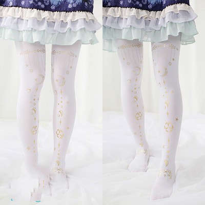 Princess sweet lolita Sweet College Lolita Print White Stockings G12
