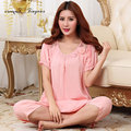 Comfortable women home wear elegant round neck short sleeve cotton sleeping suit summer breathable women pijamas pink rose red