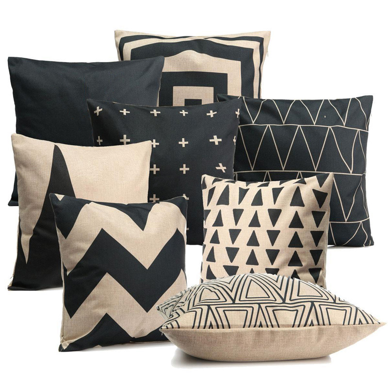 Geometric Pillow Case Striped Cushion Cover Black White Pillow Covers for Sofa Car Home Decorations Pillowcase