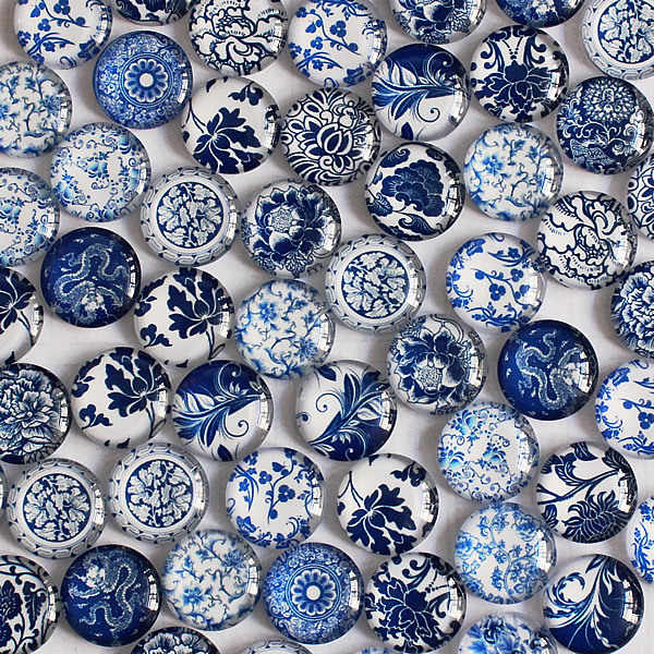 8mm Mixed Style Blue and white Porcelain Round Glass Cabochon Flatback Photo Jewelry Finding  Pendant Settings 50pcs/lot k04146