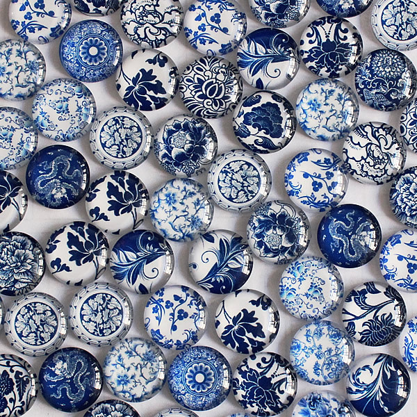 8 10 12 14 16 18 20 25 30mm Random Mixed Style Blue And White Porcelain Round Glass Cabochon Flatback Photo Base 50pcs K04146