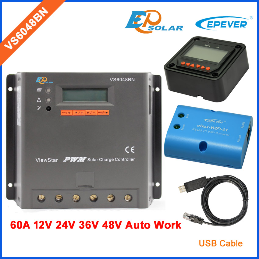 60A PWM Solar controller EPEVER VS6048BN 60amps 48V 36V battery charger auto work Wifi box and MT50 Meter USB cable PC connect vs6048au 48v battery charger work solar 60a controller pwm viewstar series 36v 24v auto work epever epsolar lcd display 60amps