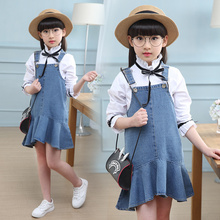 2019 New Summer Casual Jean Sets Shirt+ Jean Dress 2pcs set Clothing Kids overalls Suit For 3 4 5 6 7 10 Years girls clothes 2018 new fashion girls summer dress sets strapless patchwork kids summer clothes for 5 12 year 7 seconds fish brand