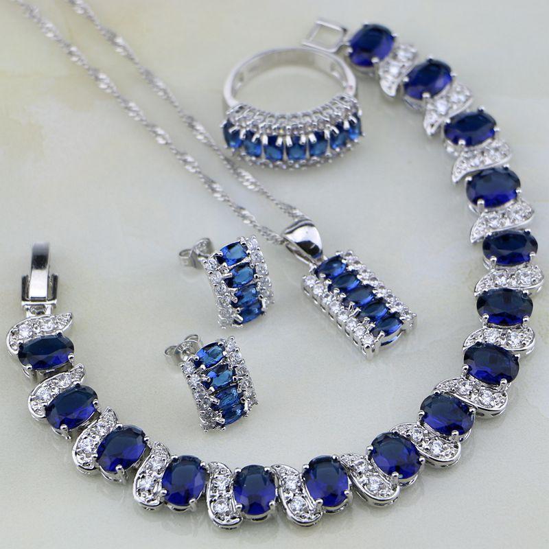Blue Zircon Jewelry White CZ 925 Sterling Silver Jewelry Sets For Women Wedding Stud Earrings/Pendant/Necklace/Rings/Bracelets sparkling orange morganite bracelets jewelry sets for women angelic 925 sterling silver earrings ring necklace pendant