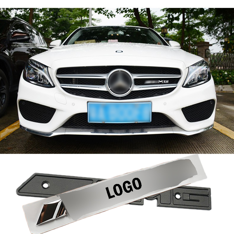 Silver AMG 3D Metal Racing Front Hood Grille Badge Emblem Decoration AMG Logo