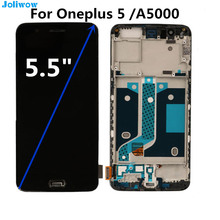 купить For Oneplus 5 LCD Display and Touch Screen+Frame Digitizer Assembly Replacement For OnePlus 5 LCD A5000 One Plus 5 LCD Screen по цене 2871.49 рублей