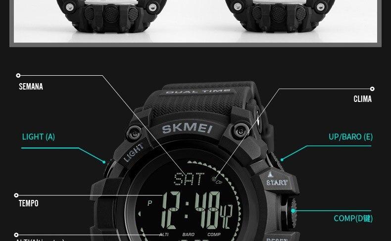 Altímetro Tempo Termômetro Relógio de Pulso