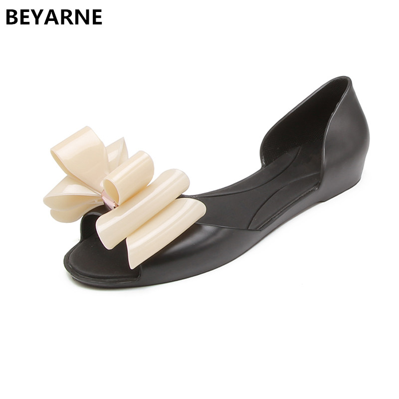 2928b319cfd BEYARNE woman jelly shoes fish mouth lady summer flats rain sandal women  students girl summer travel