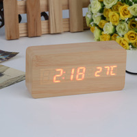 Large Size LED Wooden Alarm Clocks With Thermometer Rectangle Table Clocks Big Numbers Digital Clock Classic