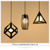 Vintage creative iron square triangle pendant lihgts for restaurant aisles bar industrial wind led luminaria free shipping