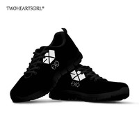 Twoheartsgirl Black Women Shoes Kpop EXO Print Sneakers for Women Breathable Female Ladies Autumn Mesh Flats Lace Up Shoes Plus