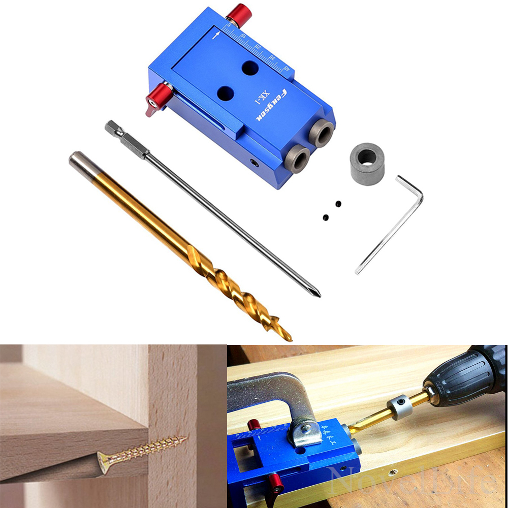 Pocket Hole Jig System Kit with 9.5mm HSS Step Twist Drill Bit Stop Stop Collar Screw Plug for Carpenter DIY Woodworking Repair woodworking tool pocket hole jig woodwork guide repair carpenter kit system with toggle clamp and step drilling bit kreg type