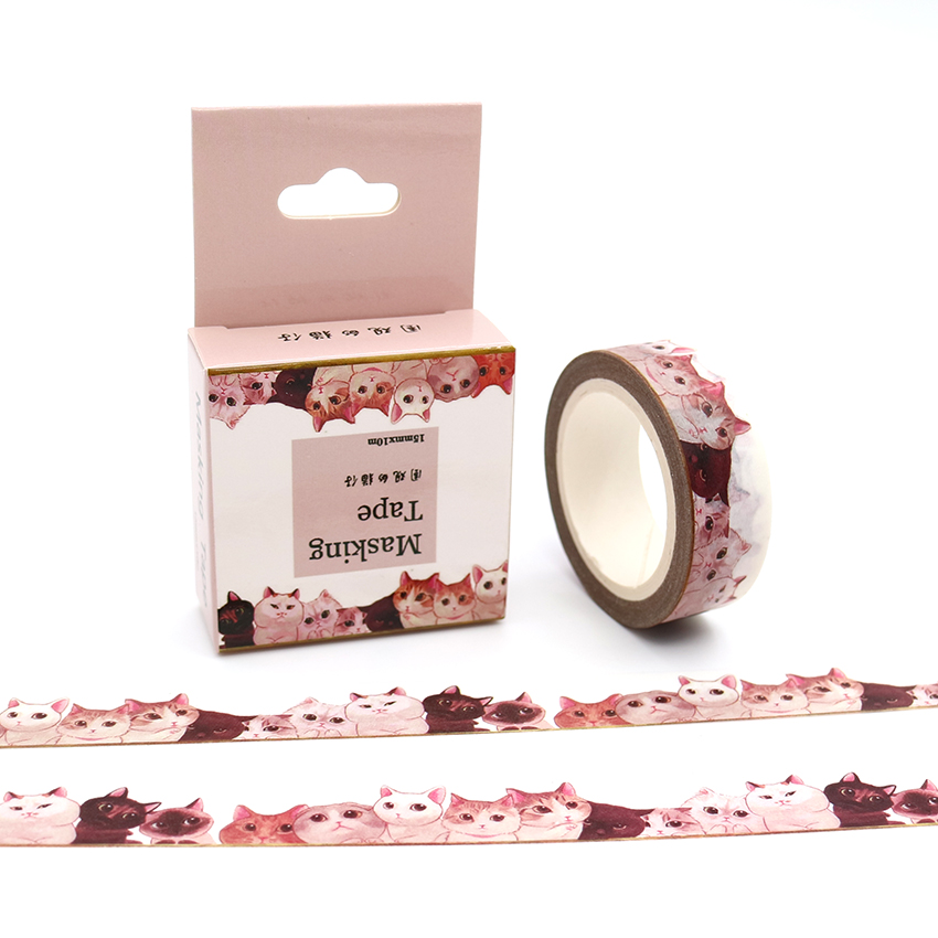 15mm*10m Box Package Onlookers Cats Washi Tape Adhesive Stickers Pattern Masking Tape Cheap Price Decorative Tape 1PCS