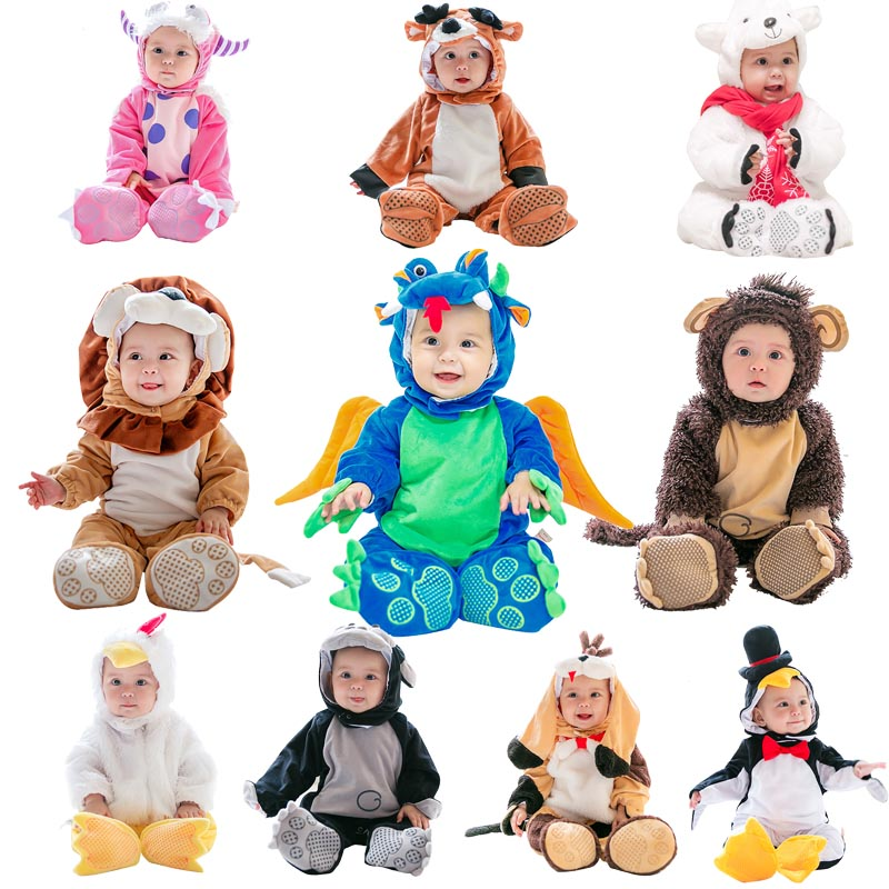 Cartoon Baby Cosplay Costume Animal Halloween Outfit for Baby Grow Infant Boys Girls Romper Toddler Autumn Winter Costumes